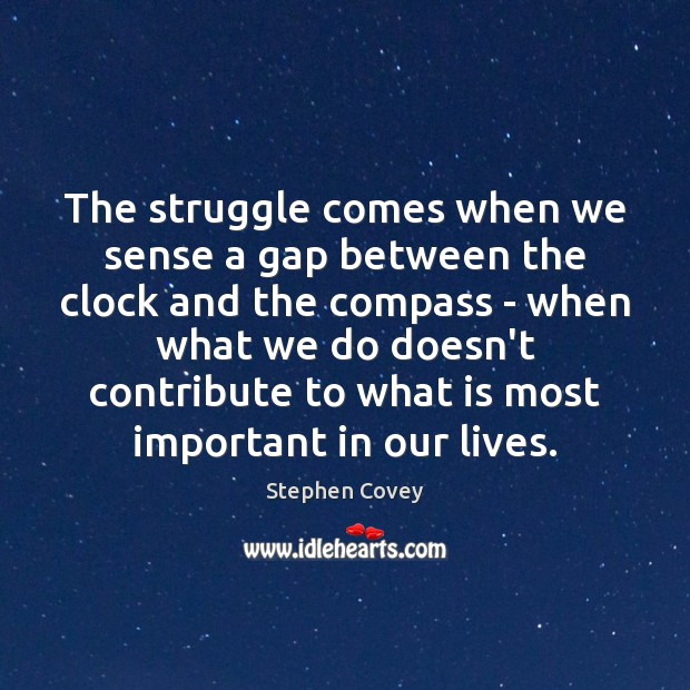 The struggle comes when we sense a gap between the clock and Image