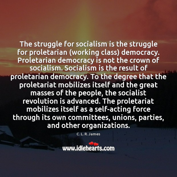 The struggle for socialism is the struggle for proletarian (working class) democracy. C. L. R. James Picture Quote