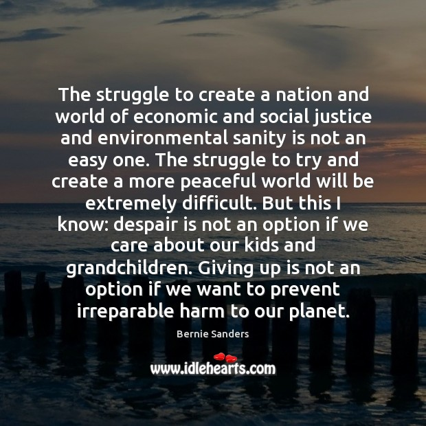 The struggle to create a nation and world of economic and social Bernie Sanders Picture Quote