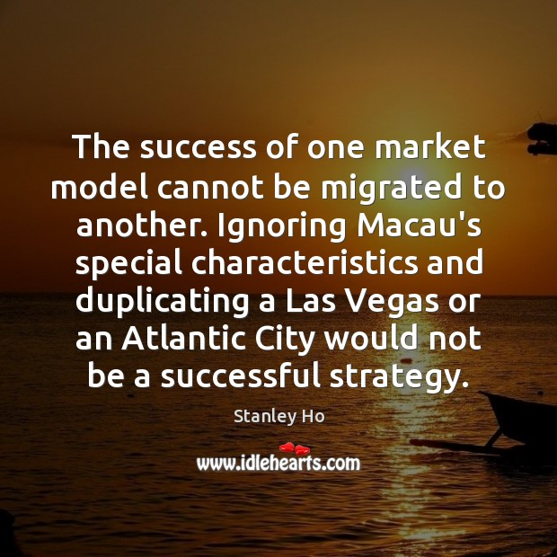 Image, The success of one market model cannot be migrated to another. Ignoring