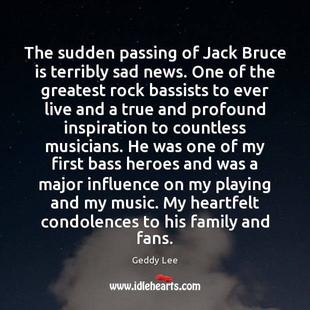 Image, The sudden passing of Jack Bruce is terribly sad news. One of