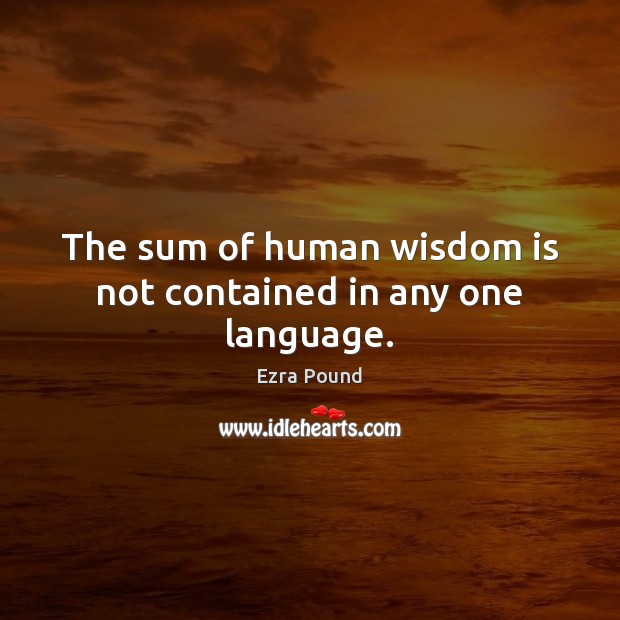 The sum of human wisdom is not contained in any one language. Image