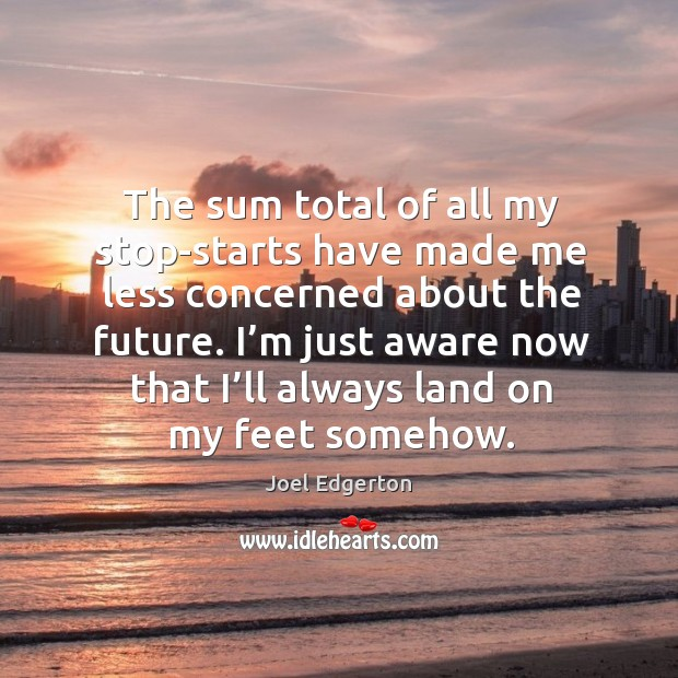 The sum total of all my stop-starts have made me less concerned about the future. Joel Edgerton Picture Quote