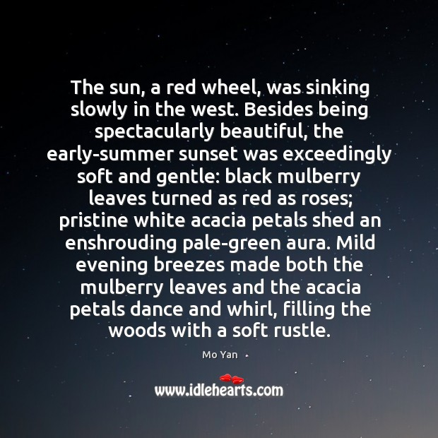The sun, a red wheel, was sinking slowly in the west. Besides Image
