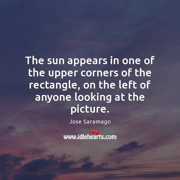 Image, The sun appears in one of the upper corners of the rectangle,