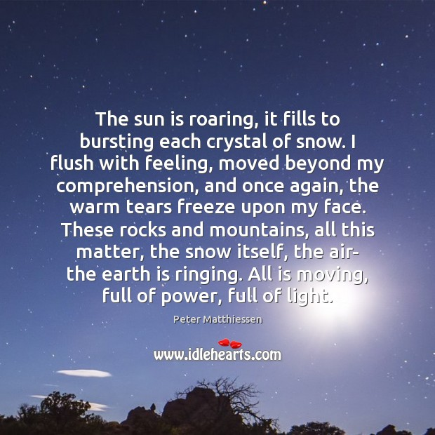 The sun is roaring, it fills to bursting each crystal of snow. Image