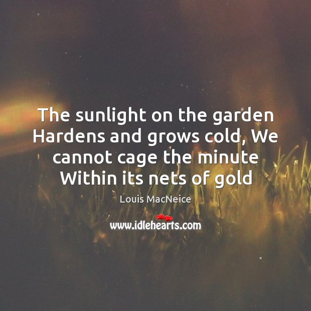 The sunlight on the garden Hardens and grows cold, We cannot cage Image