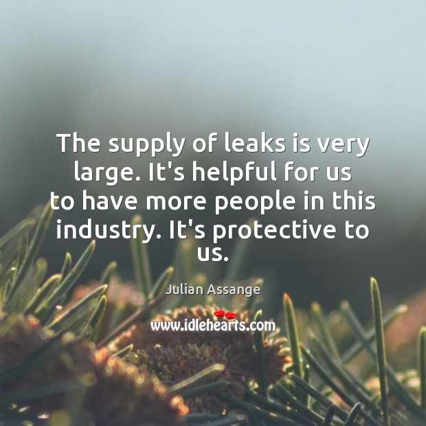 The supply of leaks is very large. It's helpful for us to Julian Assange Picture Quote