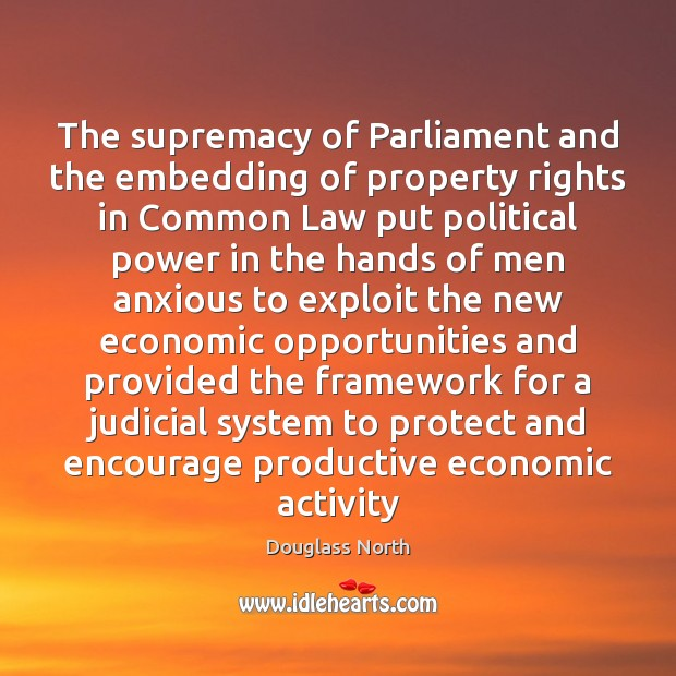 The supremacy of Parliament and the embedding of property rights in Common Image