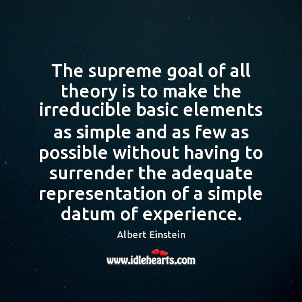 Image, The supreme goal of all theory is to make the irreducible basic