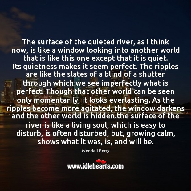 The surface of the quieted river, as I think now, is like Image