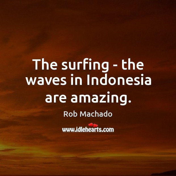 The surfing – the waves in Indonesia are amazing. Image