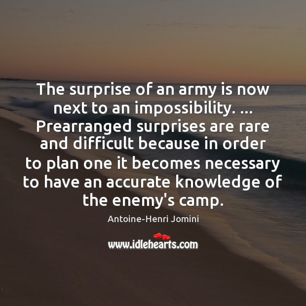 Image, The surprise of an army is now next to an impossibility. … Prearranged