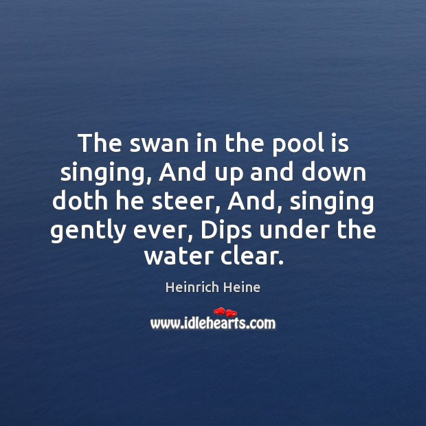 Image, The swan in the pool is singing, And up and down doth