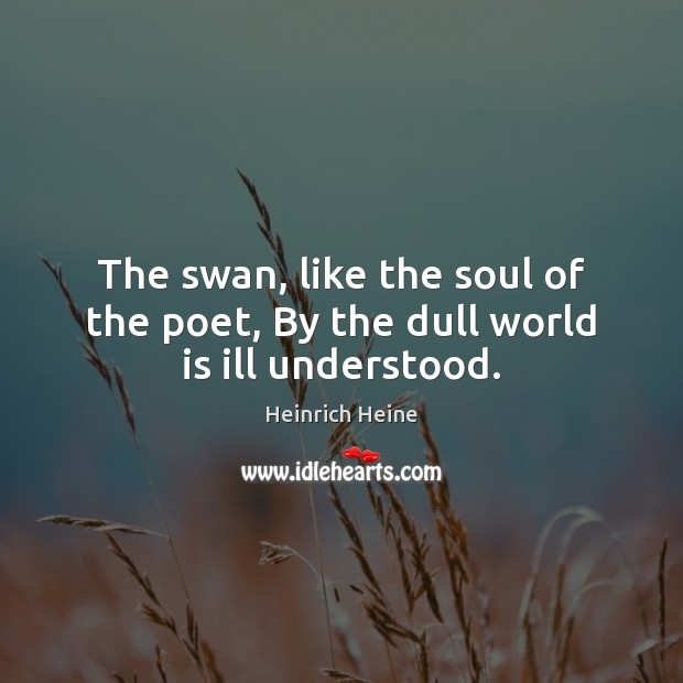 Image, The swan, like the soul of the poet, By the dull world is ill understood.