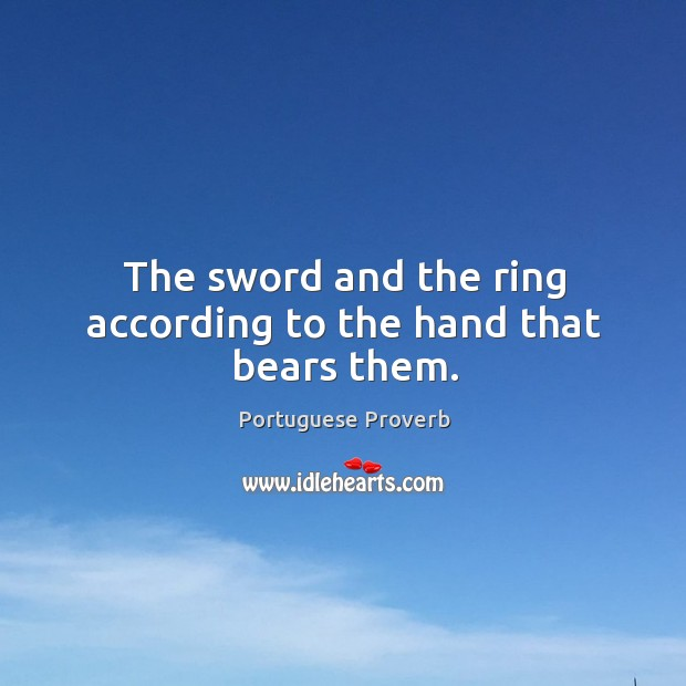 The sword and the ring according to the hand that bears them. Image
