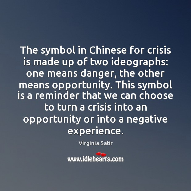 The symbol in Chinese for crisis is made up of two ideographs: Virginia Satir Picture Quote