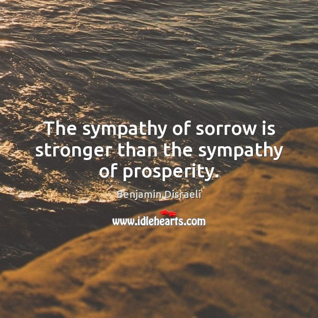 The sympathy of sorrow is stronger than the sympathy of prosperity. Image