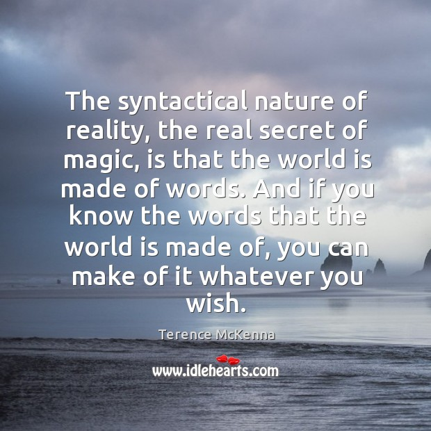 The syntactical nature of reality, the real secret of magic, is that Image