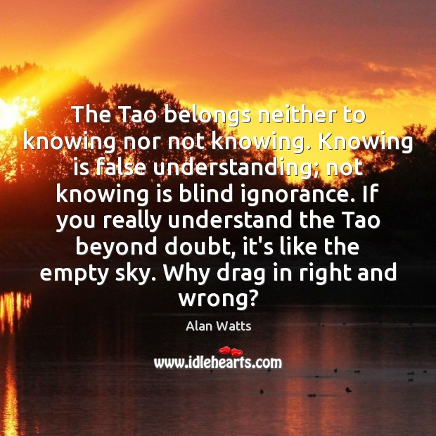The Tao belongs neither to knowing nor not knowing. Knowing is false Image