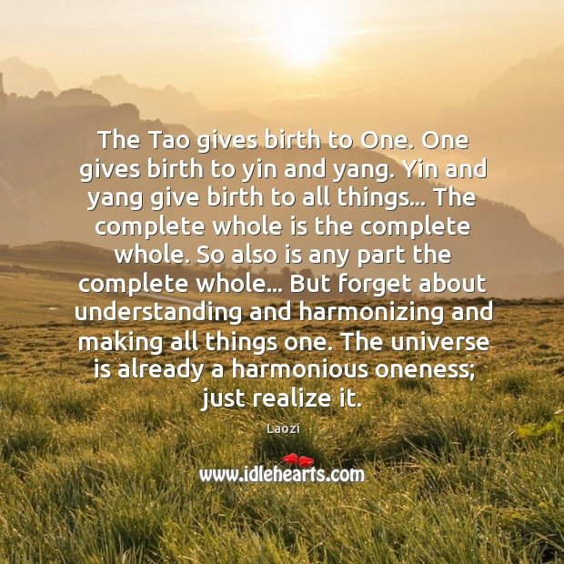 The Tao gives birth to One. One gives birth to yin and Image