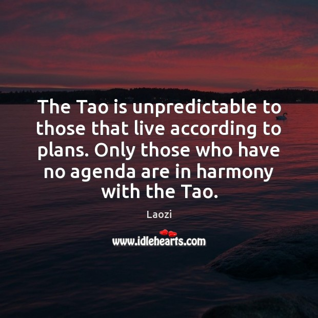 Image, The Tao is unpredictable to those that live according to plans. Only