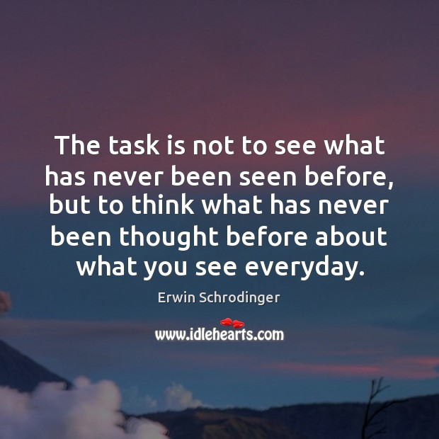 The task is not to see what has never been seen before, Erwin Schrodinger Picture Quote