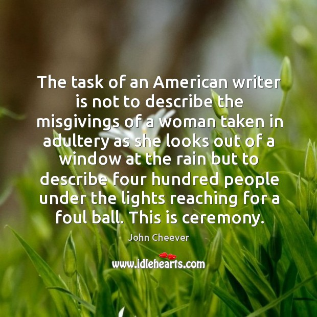 The task of an american writer is not to describe the misgivings of a woman Image