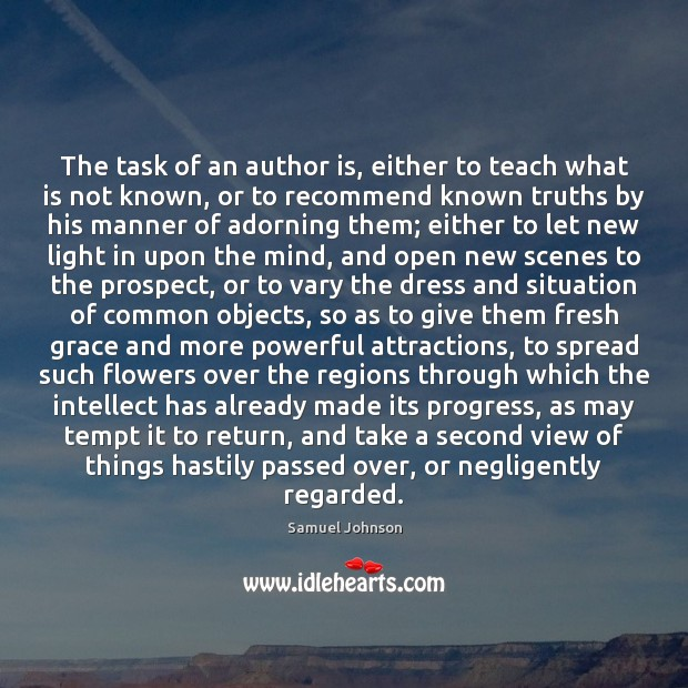 Image, The task of an author is, either to teach what is not