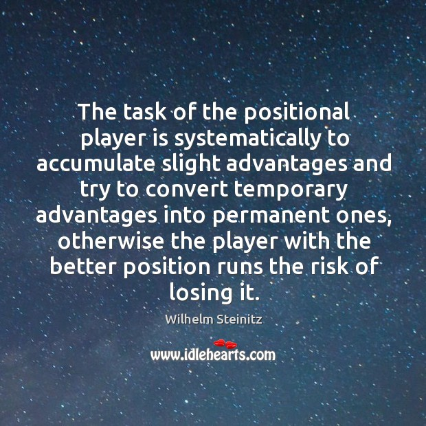 Image, The task of the positional player is systematically to accumulate slight advantages