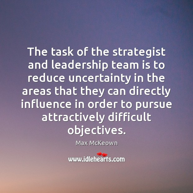 The task of the strategist and leadership team is to reduce uncertainty Image