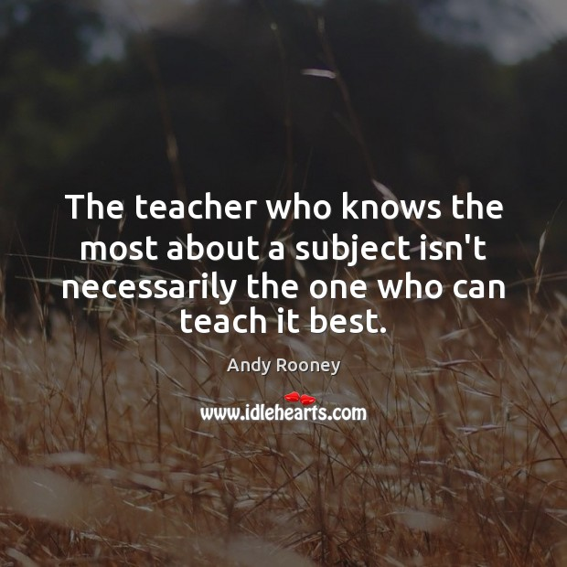 The teacher who knows the most about a subject isn't necessarily the Image