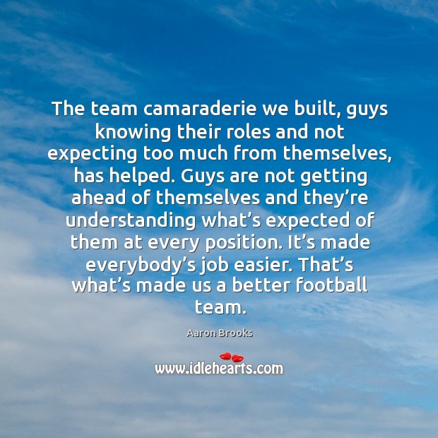 Image, The team camaraderie we built, guys knowing their roles and not expecting too much from themselves