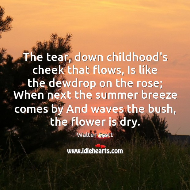 The tear, down childhood's cheek that flows, Is like the dewdrop on Image