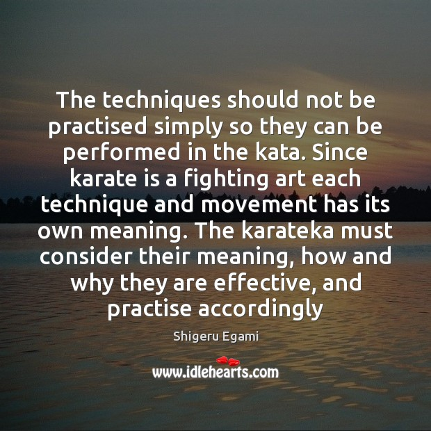 The techniques should not be practised simply so they can be performed Image
