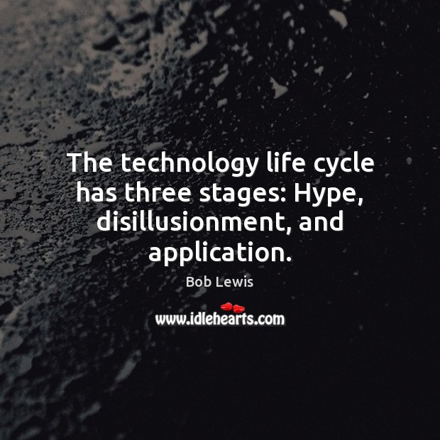 The technology life cycle has three stages: Hype, disillusionment, and application. Image