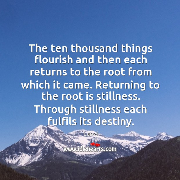 The ten thousand things flourish and then each returns to the root Image