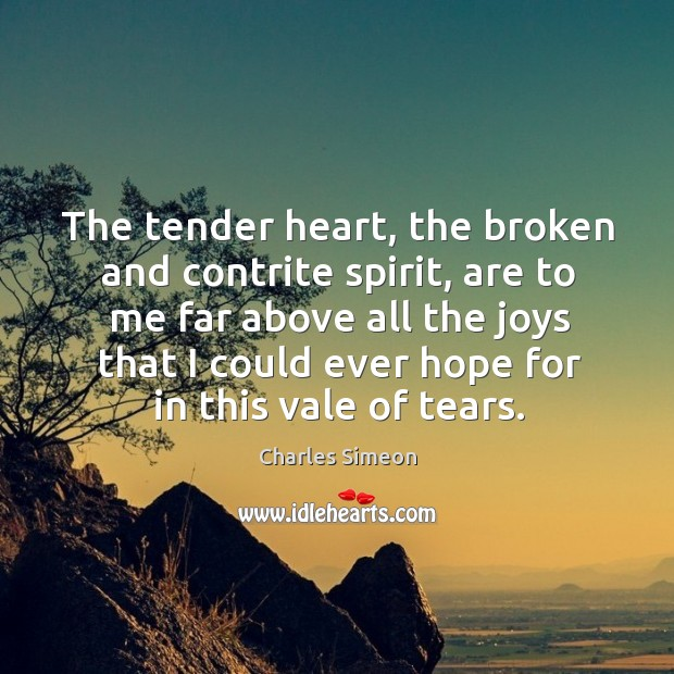 The tender heart, the broken and contrite spirit, are to me far above all the joys that Charles Simeon Picture Quote