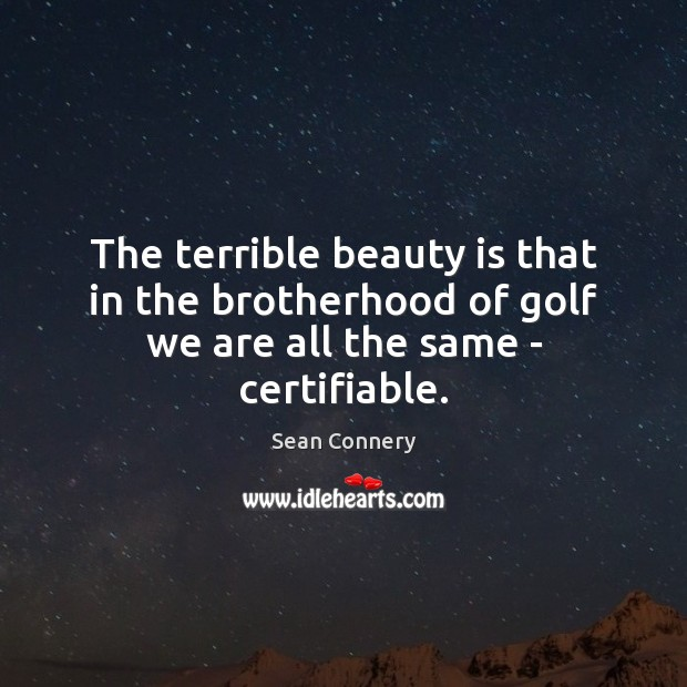 The terrible beauty is that in the brotherhood of golf we are all the same – certifiable. Sean Connery Picture Quote