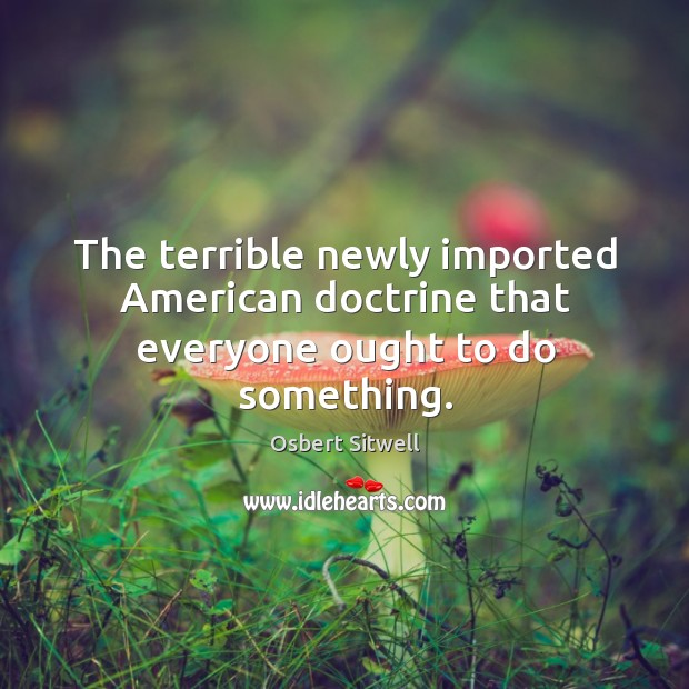 The terrible newly imported American doctrine that everyone ought to do something. Image