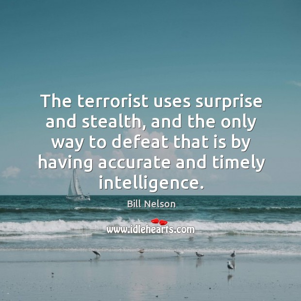 Image, The terrorist uses surprise and stealth, and the only way to defeat that is by having accurate and timely intelligence.
