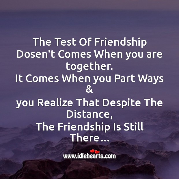 The test of friendship Friendship Day Messages Image