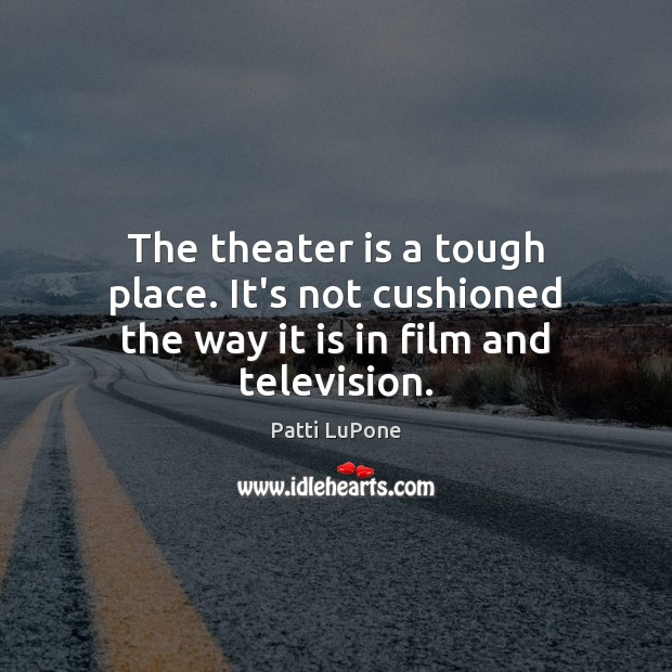 The theater is a tough place. It's not cushioned the way it is in film and television. Image