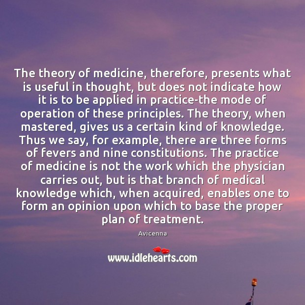 Image, The theory of medicine, therefore, presents what is useful in thought, but