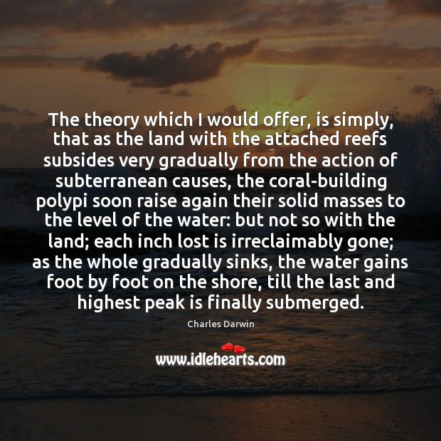 The theory which I would offer, is simply, that as the land Charles Darwin Picture Quote