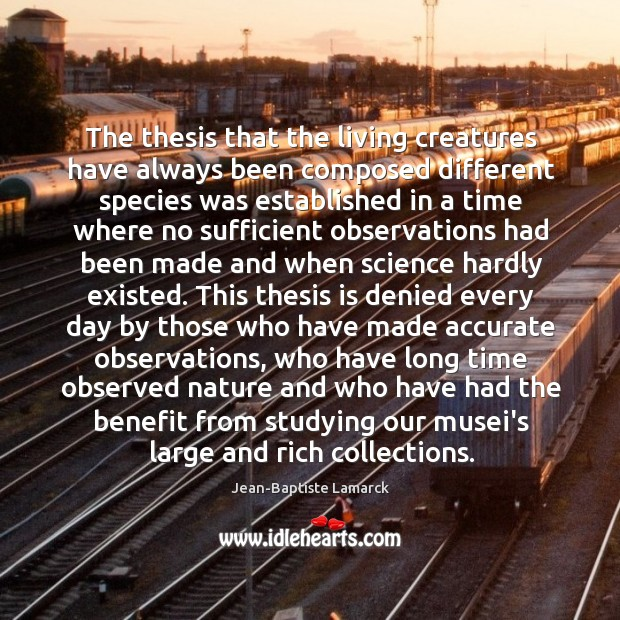 Image, The thesis that the living creatures have always been composed different species