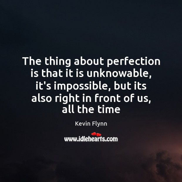 The thing about perfection is that it is unknowable, it's impossible, but Perfection Quotes Image