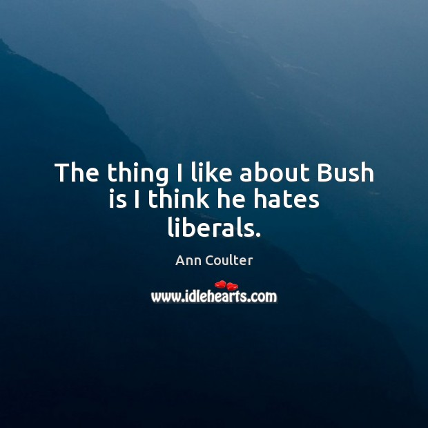 The thing I like about Bush is I think he hates liberals. Ann Coulter Picture Quote