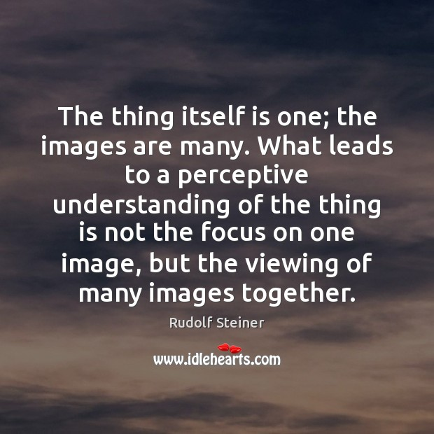 The thing itself is one; the images are many. What leads to Rudolf Steiner Picture Quote