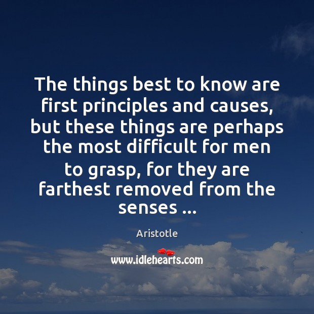 Image, The things best to know are first principles and causes, but these
